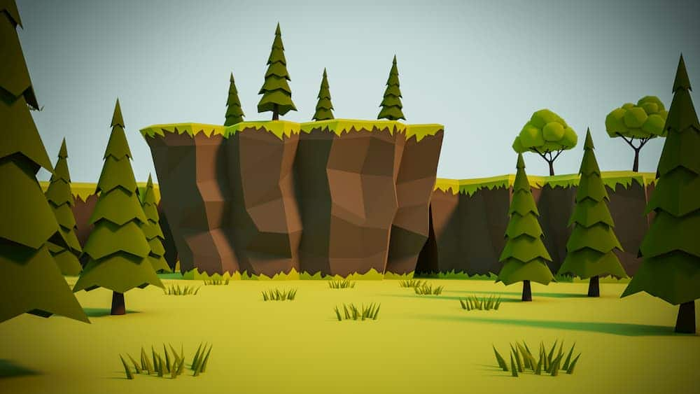 Render of a low poly cliff